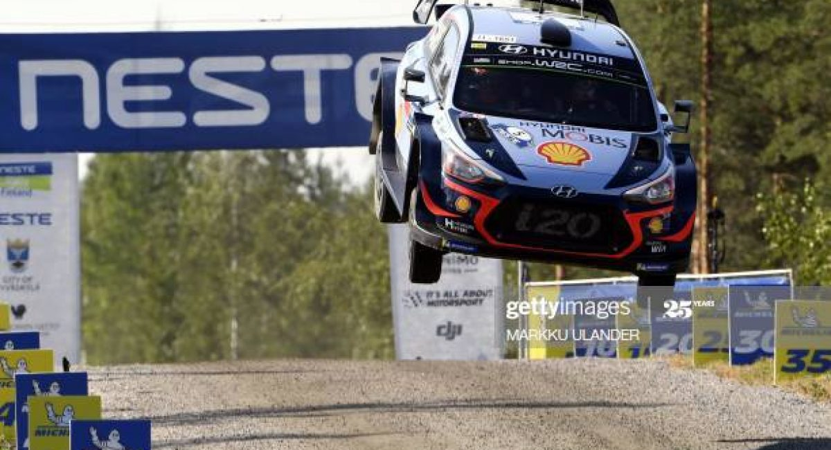 Belgian driver Thierry Neuville and co-driver Nicolas Gilsoul get airborne with their Hyundai i20 WRC car during the Ruuhimäki 1 Special Stage of the WRC Rally Finland near Jyväskylä, Finland on July 29, 2018. (Photo by Markku Ulander / Lehtikuva / AFP) / Finland OUT        (Photo credit should read MARKKU ULANDER/AFP via Getty Images)